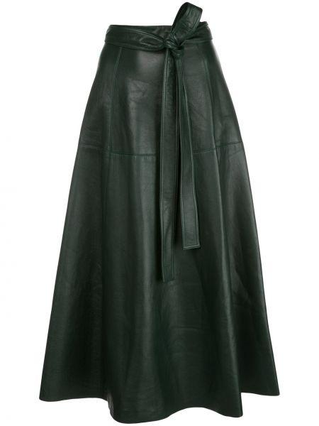 Кожаная черная с завышенной талией юбка с завязками Oscar De La Renta
