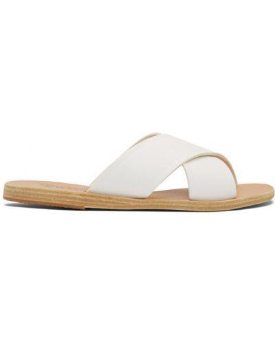 Z paskiem biały skórzany sandały grecki na pięcie Ancient Greek Sandals