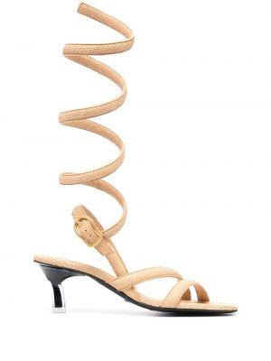 Beżowe sandały skorzane na niskim obcasie Dorothee Schumacher