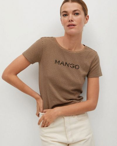 Коричневая футболка с короткими рукавами Mango
