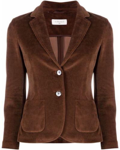 Однобортный коричневый удлиненный пиджак на пуговицах Circolo 1901