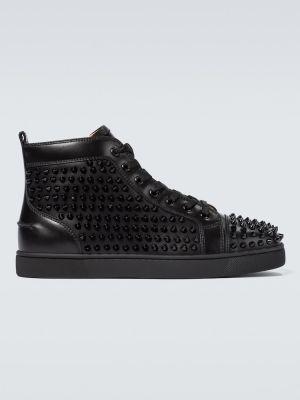 Skórzany czarny wysoki sneakersy z kolcami Christian Louboutin