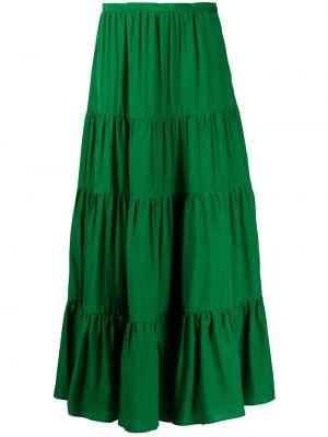 С завышенной талией расклешенная зеленая юбка макси Kiton