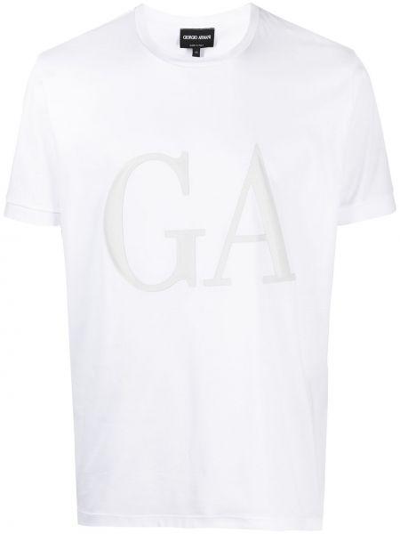 Кожаная с рукавами белая рубашка Giorgio Armani