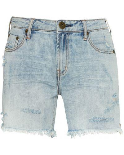 Хлопковые синие рваные джинсовые шорты One Teaspoon