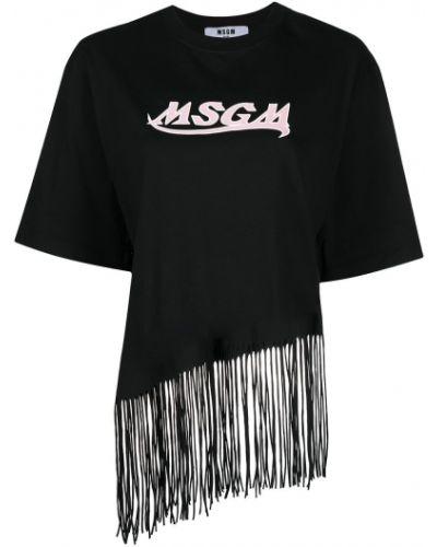 Хлопковая с рукавами черная футболка Msgm
