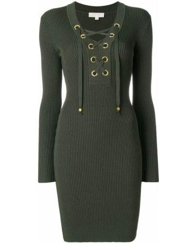 Платье с V-образным вырезом с длинными рукавами на шнуровке Michael Michael Kors