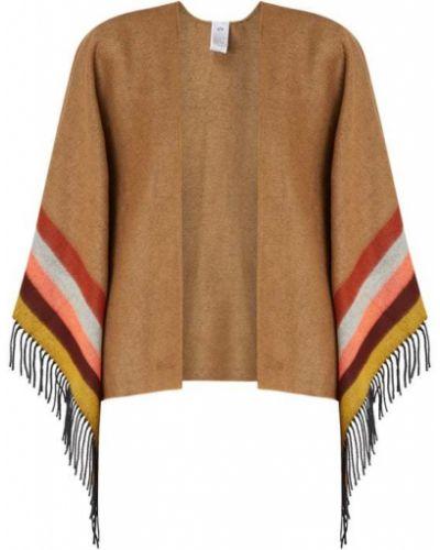 Bawełna bawełna brązowy ponczo z frędzlami Fraas