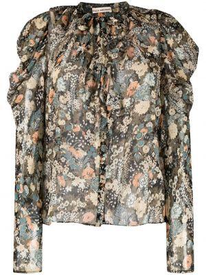 Zielona bluzka w kwiaty z jedwabiu Ulla Johnson