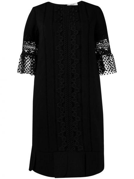 Черное прямое ажурное платье с вырезом Blugirl