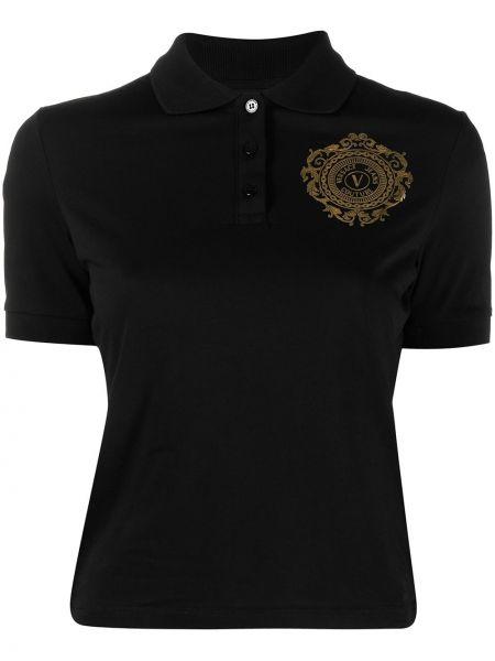 Koszula jeansowa krótki rękaw - czarna Versace Jeans Couture