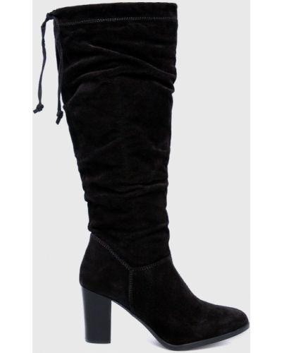Ботинки на каблуке замшевые черные Tamaris