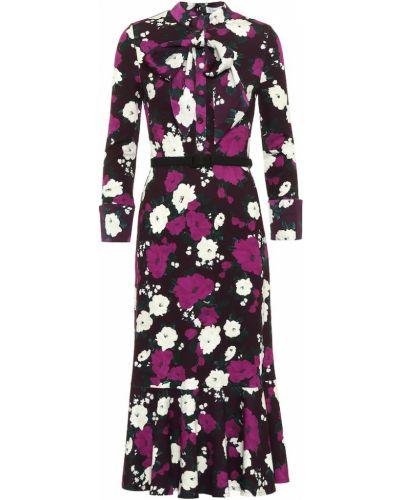 Платье миди с цветочным принтом из вискозы Erdem