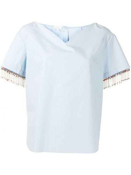 Niebieska koszula krótki rękaw bawełniana Delpozo