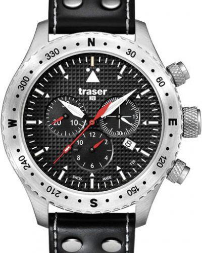 Часы водонепроницаемые с подсветкой с кожаным ремешком Traser