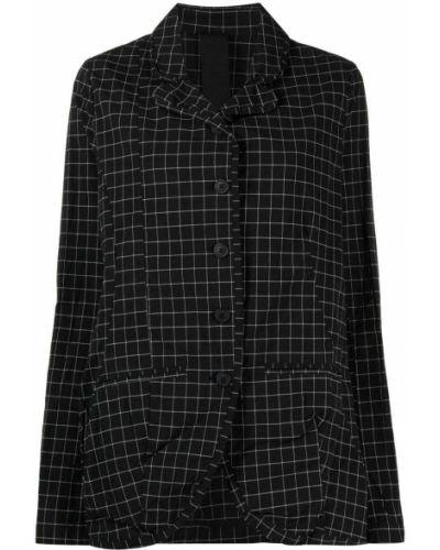 Черный удлиненный пиджак в клетку с воротником Rundholz