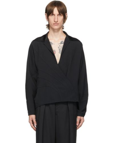 Czarna koszula z długimi rękawami z wiskozy Mugler