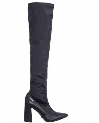 Ботфорты на каблуке кожаные черные Roberto Maurizi