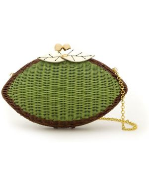 Золотистая зеленая соломенная сумка на цепочке металлическая Serpui