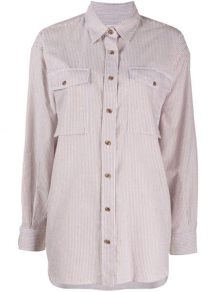 С рукавами белая классическая рубашка в полоску Closed