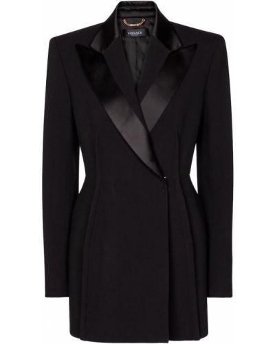 Черный пиджак двубортный из вискозы Versace
