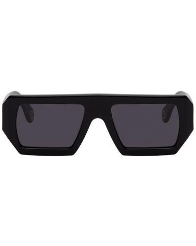 Кожаные черные солнцезащитные очки прямоугольные études