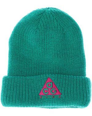 Zielony czapka beanie wełniany z haftem Nike Acg