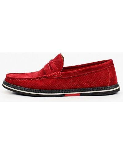 Велюровые красные мокасины El'rosso