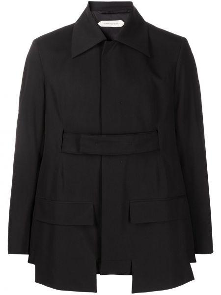 Черный пиджак с поясом из вискозы с воротником Namacheko