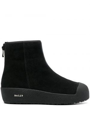 Черные ботинки на плоской подошве на молнии Bally