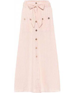 Хлопковая костюмная ажурная розовая юбка макси Melissa Odabash