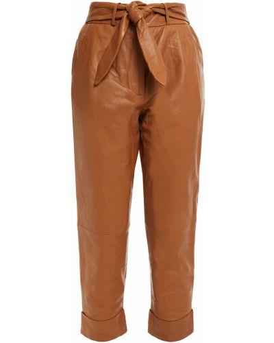 Прямые кожаные укороченные брюки с карманами Walter Baker