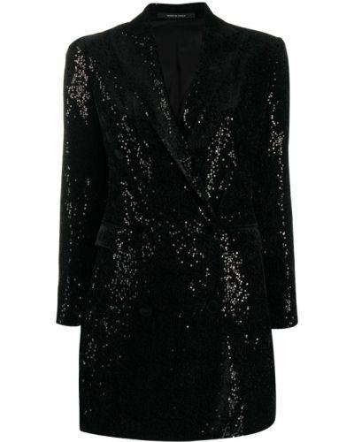 С рукавами черный удлиненный пиджак на пуговицах Tagliatore