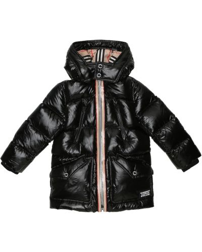 Czarny puchaty płaszcz Burberry Kids