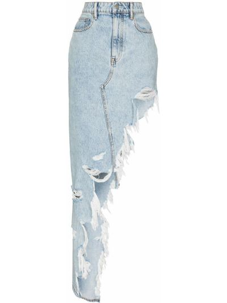 Хлопковая с завышенной талией синяя джинсовая юбка Alexander Wang