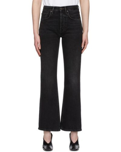 Srebro jeansy z łatami z kieszeniami zabytkowe Acne Studios