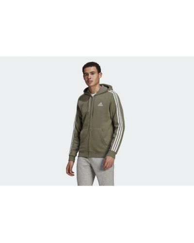 Zielona bluza z kapturem w paski Adidas