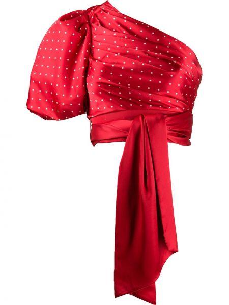 Красный асимметричный кроп-топ с декольте с короткими рукавами Misha Collection