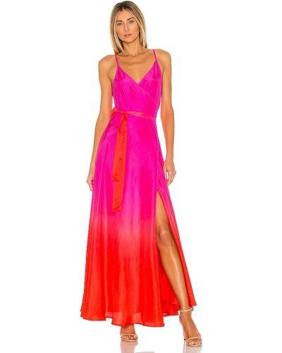 Розовое шелковое платье макси Karina Grimaldi