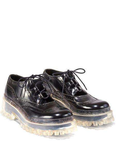 Ażurowy czarny buty brogsy z prawdziwej skóry zasznurować Marc Jacobs