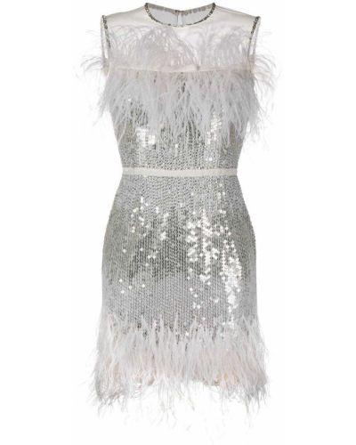 Белое платье мини без рукавов с перьями Jenny Packham