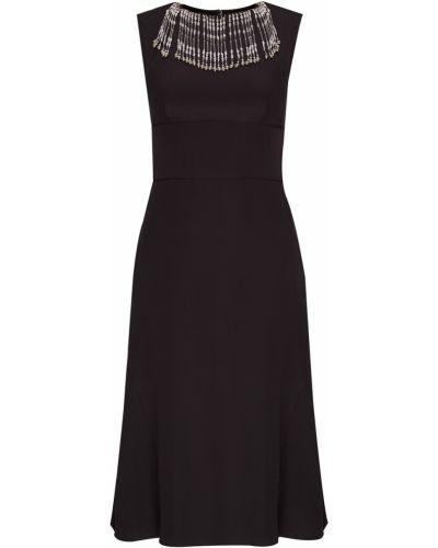 Платье с поясом с бахромой с бисером Prada