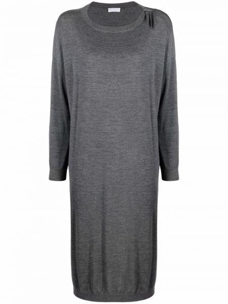 Серое шерстяное платье Brunello Cucinelli