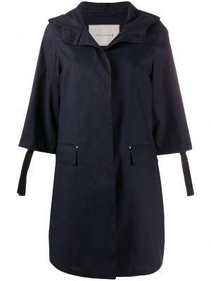 Синее пальто классическое с капюшоном на пуговицах Mackintosh
