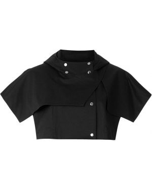 Прямое черное пальто с капюшоном Gloria Coelho