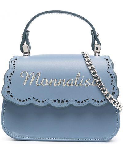 Хлопковая синяя сумка на плечо на молнии Monnalisa