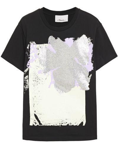 Czarny t-shirt bawełniany z cekinami 3.1 Phillip Lim