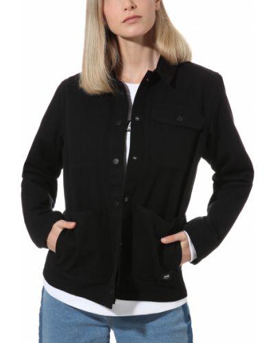 Хлопковая черная куртка с накладными карманами Vans