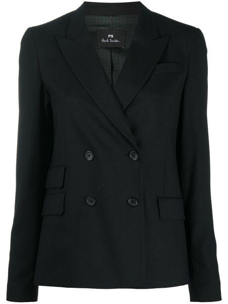 Черный пиджак двубортный с карманами Ps Paul Smith