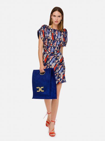 Шелковое синее платье Elisabetta Franchi